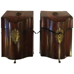 Pair of 18th Century Mahogany Knife Boxes with Fitted Interiors