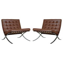 Triple Signed Pair of Barcelona Chairs by Mies Van Der Rohe for Knoll Int, 1978