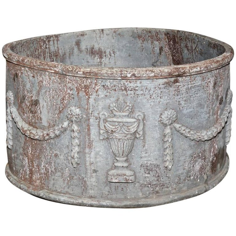 Antique lead planter with drainage hole for sale at 1stdibs for Lead planters for sale