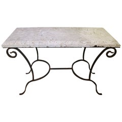 Mizner Style Rectangular Console Table in Wrought Iron and Coquina Stone