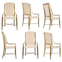 Mastercraft Gilt Brass & Champagne Velvet Dining Chairs, Set of Six, circa 1970