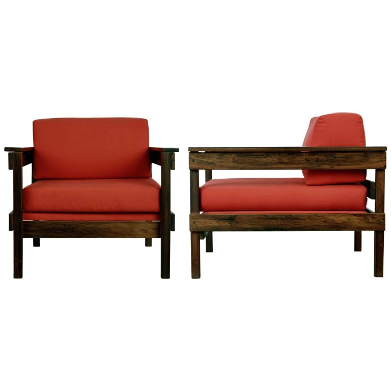 Brazilian Modern Jacaranda Armchairs from Floresta Country Club, Rio, circa 1968 For Sale