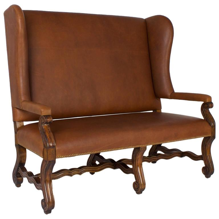 Handsome Ralph Lauren Style Brown Leather Settee For Sale