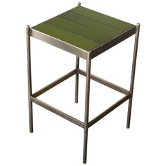 Brass and Tile Side Table by Thomas Hayes Studio