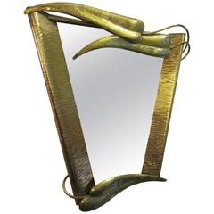 Brass Mirror in the Style of Wiener Werkstatte