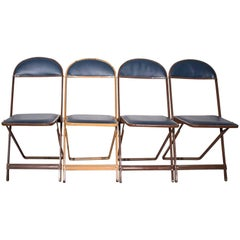 1960s Folding Chairs, Set of Four, Refinished