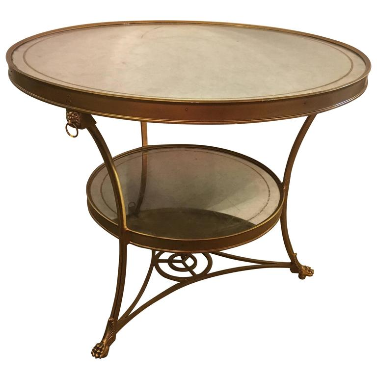 Hollywood Regency Style Gilt Based Eglomise & Mirror Top Gueridon Centre Table