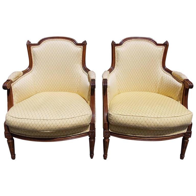 Pair of Italian Walnut Bergere Upholstered Armchairs, Circa 1780