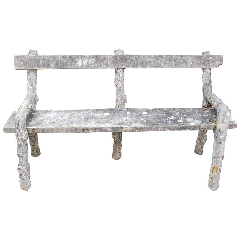 Vintage French Faux Bois Garden Bench For Sale