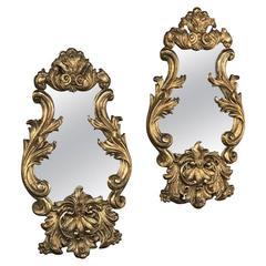 Pair 19th Century Italian Baroque Giltwood Mirrors