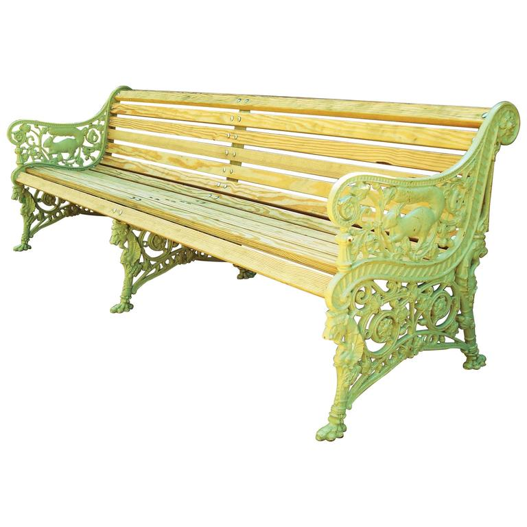 Monumental 19th Century Cast Iron Squirrel Garden Bench / Seat For Sale