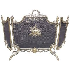 French Brass Decorative Floral and Ribbon Folding Firescreen, Circa 1820