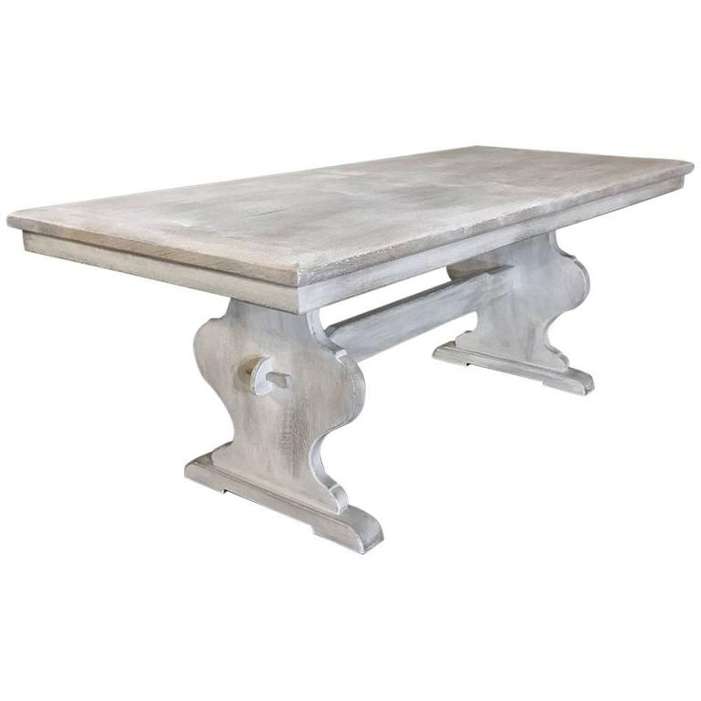 Antique Rustic Whitewashed Oak Painted French Trestle Table