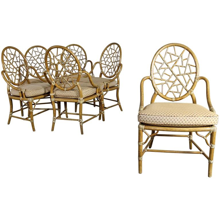 Beautiful Vintage McGuire Cracked Ice Dining Chairs Rattan Set Of Six For Sale