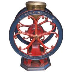 American Cast Iron Painted Coffee Grinder, Star Mill, Philadelphia, Circa 1885