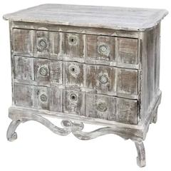 19th Century Country French Painted, Whitewashed Commode