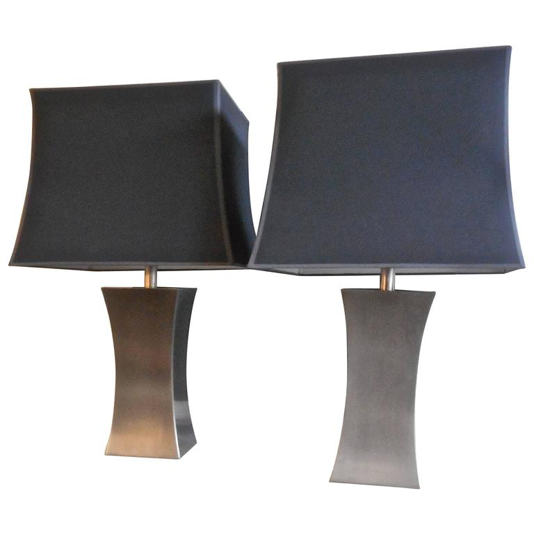 Pair of 1970s Steel Table Lamps by Françoise Sée