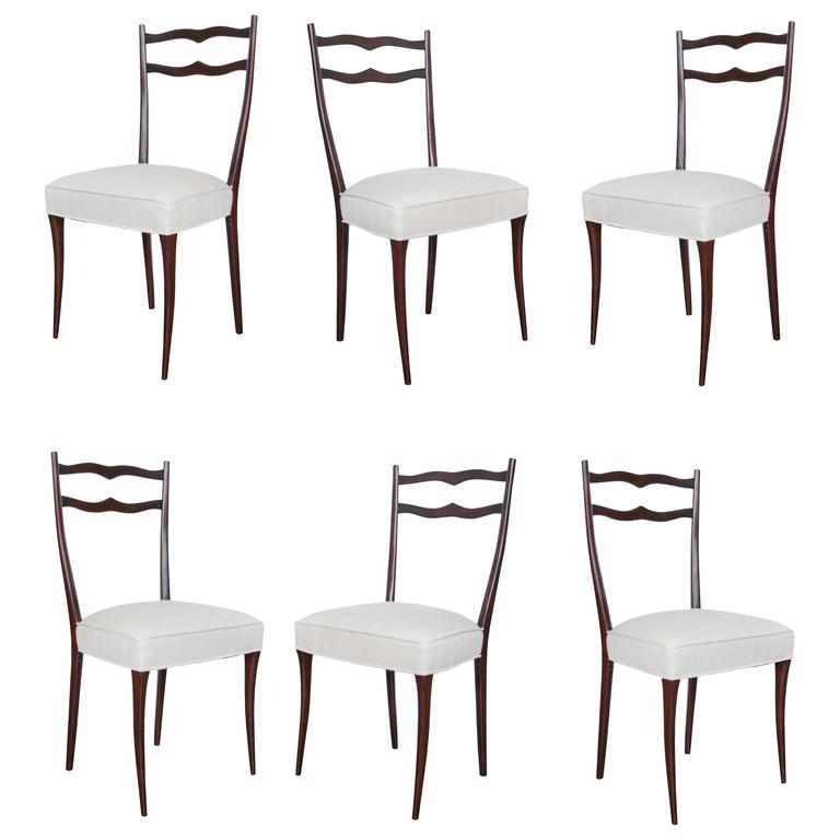 Set of Six Italian Mid-Century Dining Chairs in the Style of Ico Parisi