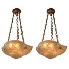 Pair of French Art Deco Chandelier by Degue
