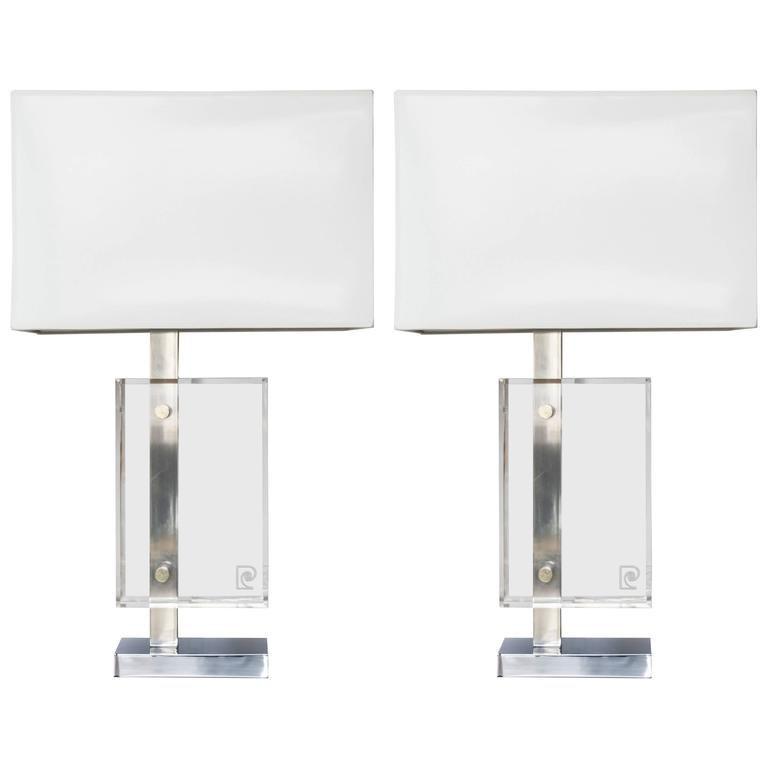 Pair of Lucite and Polished Chrome Lamps by Pierre Cardin with Custom Shades