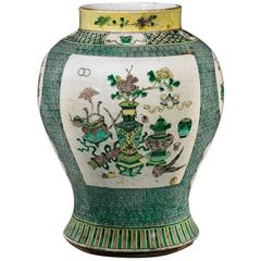 Antique Chinese Kangxi Style Porcelain Ginger Jar
