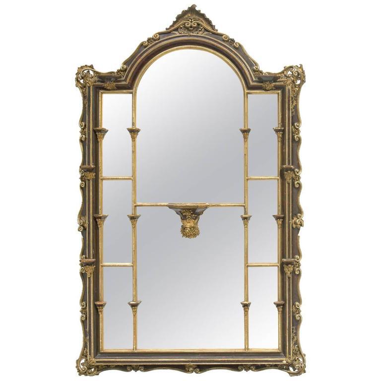 Large Italian Faux Tortoiseshell Painted Mirror, 19th Century