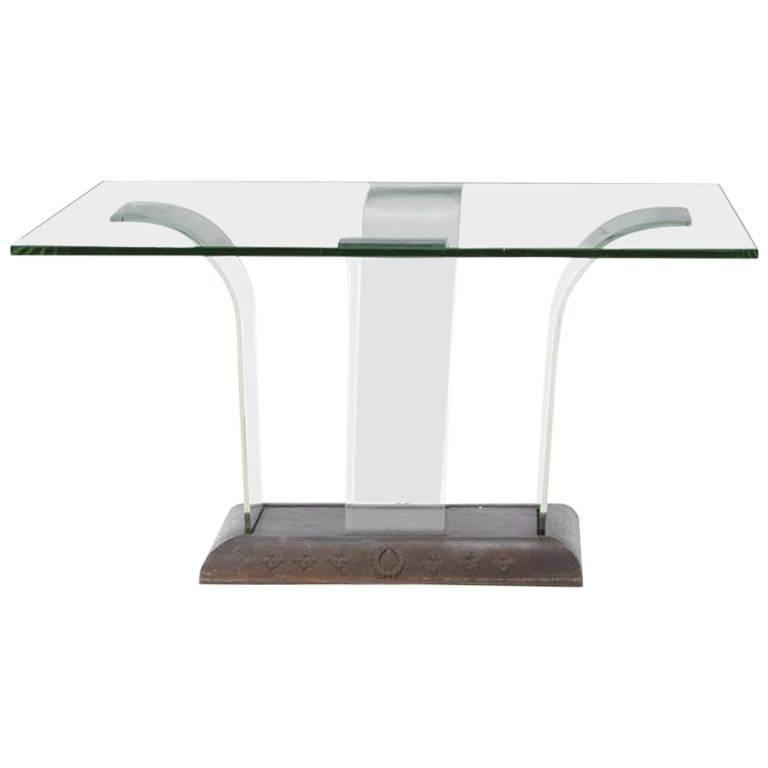 Contemporary Glass and Wood Centre Table