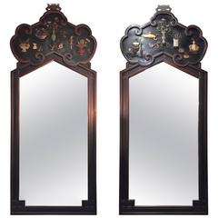 Pair of Chinese Jade-Cinnabar and Gemstone Inlaid Mirrors