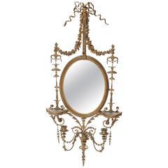 English Adams Style Gilt and Detailed Girandole Mirror