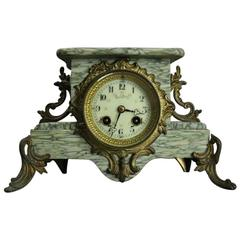 Antique French Louis XIV Style Ormolu and Marble Clock, circa 1880