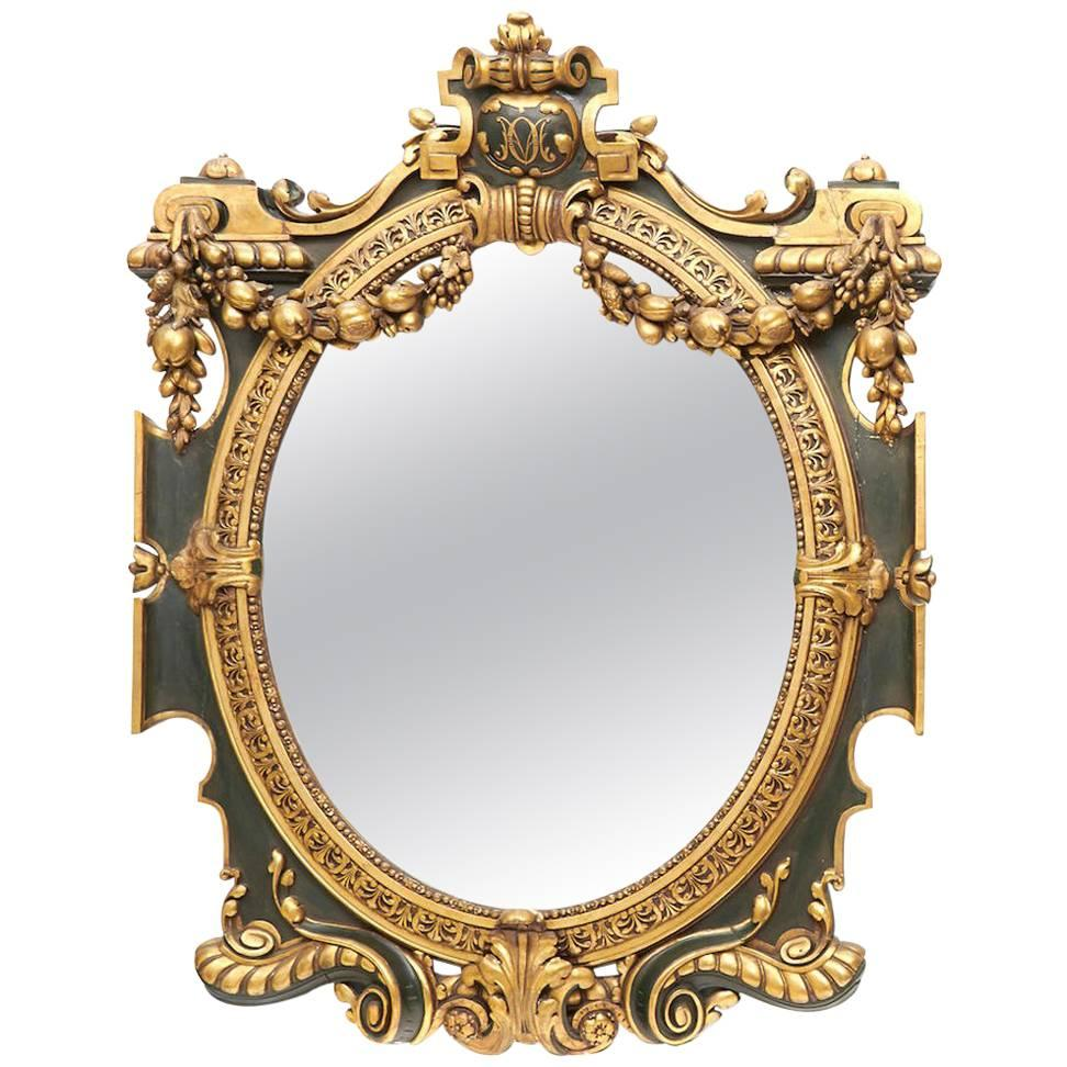Italian Baroque Style Parcel-Gilt Oval Mirror, 19th Century