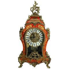 Vintage French Louis XIV Style Franz Hermle Boulle & Tortoise Mantel Clock