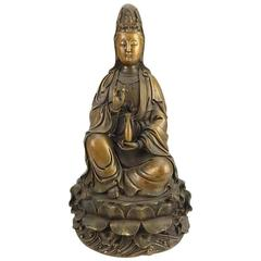 Antique Chinese Bronze Quan Yin, Signed