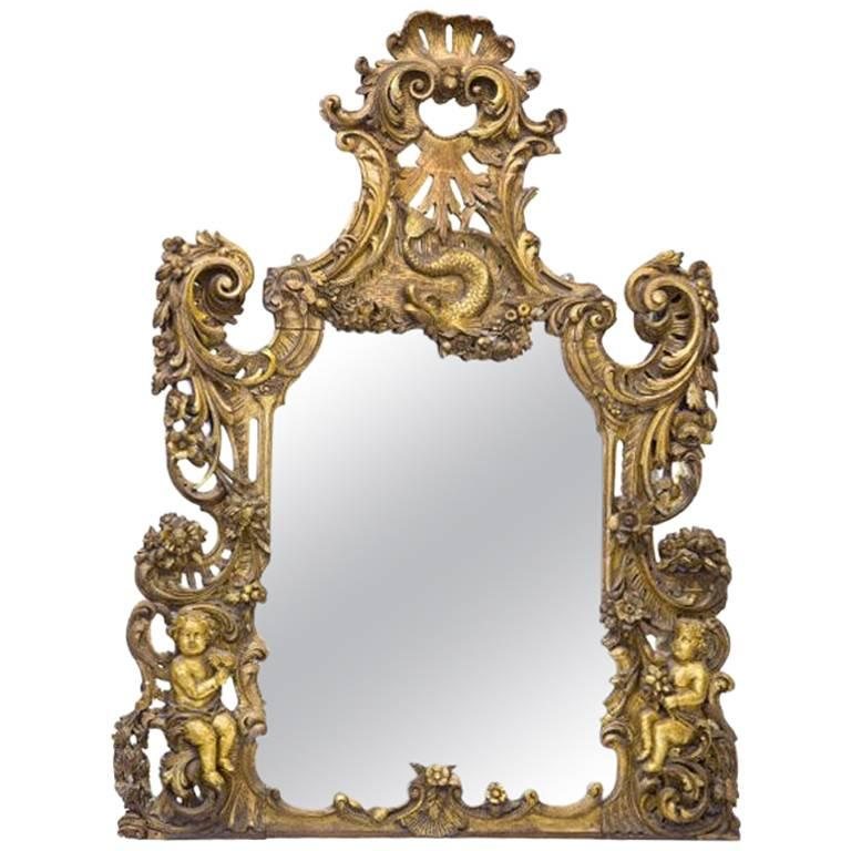 Italian Baroque Style Carved Giltwood Mirror, Mid-19th Century