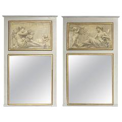 Pair of Italian Neoclassical Style Trumeau Mirrors, 19th Century