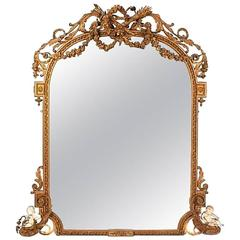 Large Louis XV Style Gilded Mirror, 19th Century
