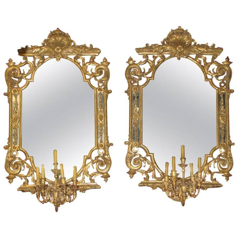 Pair of Italian Baroque Style Carved Giltwood Girandole Mirrors