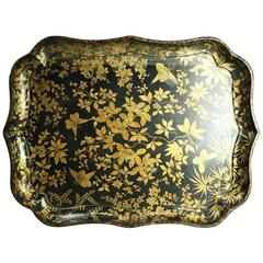 Oversized Antique Aesthetic Movement Black Lacquer & Gilt Paper Mache Tray