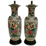 Pair of Antique Chinese Hand-Painted Vase Lamps