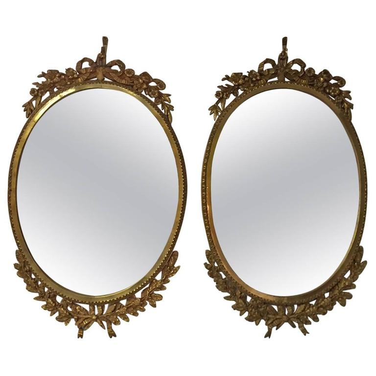 Pair of French Ormolu Oval Mirrors, circa 1900