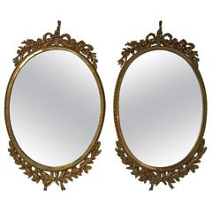 Pair of French Ormolu Oval Mirrors, circa 1900