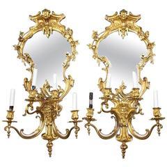 Pair of Louis XV Style Gilt Bronze Girandole Mirrors