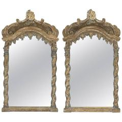 Pair of Italian Baroque Style Carved Mirrors, 19th Century