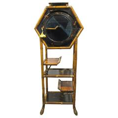 Antique English Aesthetic Movement Bamboo and Lacquer Cabinet on Stand