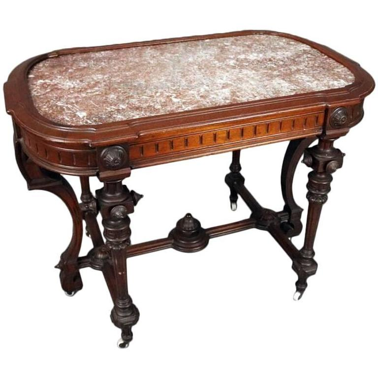 Victorian Marble Coffee Table: Victorian Renaissance Carved Walnut Stand With Inset