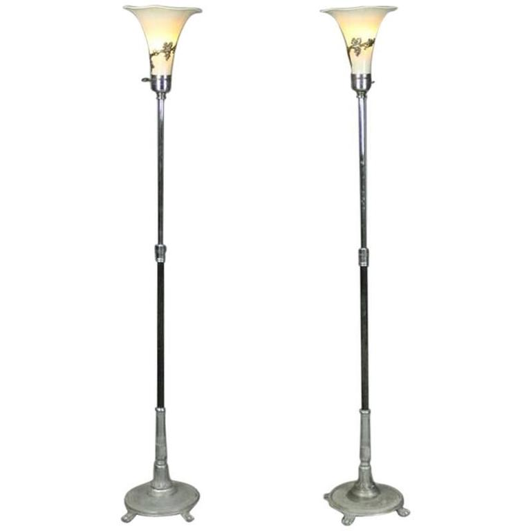 Pair Of Antique French Art Nouveau Torchiere Floor Lamps
