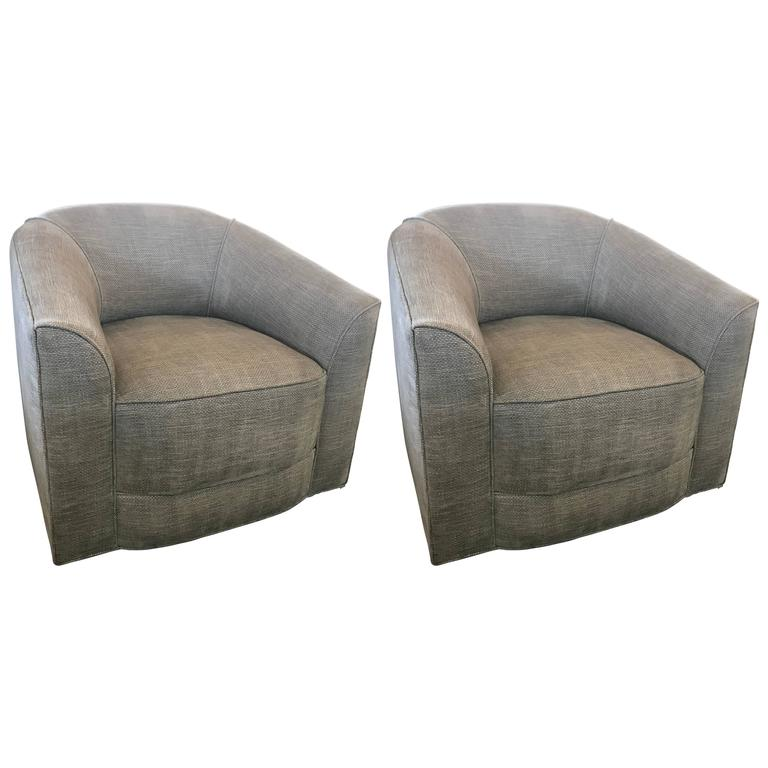 Pair Of Gray Upholstered Barrel Swivel Chairs For Sale