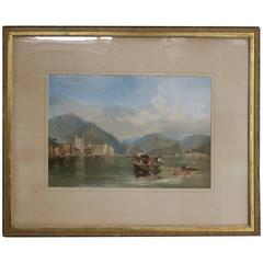 Antique Gilt Framed Italian Venetian Harbor Watercolor Painting, circa 1890