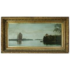 Antique Maritime Oil on Canvas Painting with Tall Mast Ship, circa 1890