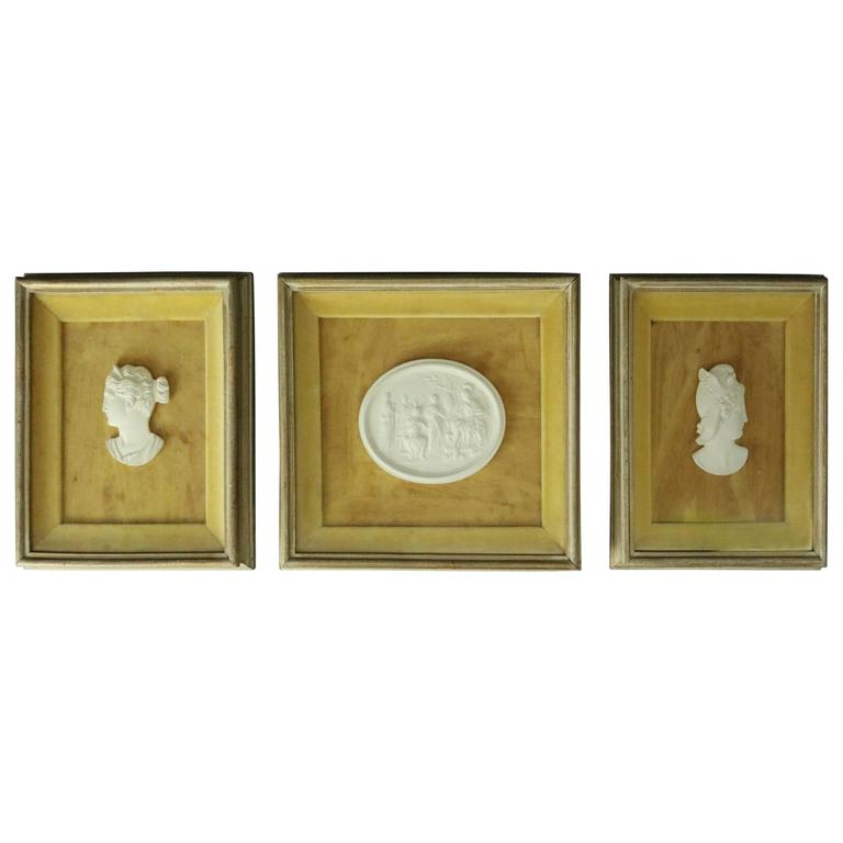 Three Vintage Classical Bisque Parian Warrior Cameos In